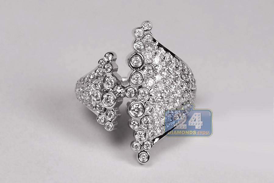Womens Diamond Cluster Bezel Set Fancy Ring 18k Gold 1 67 Ct