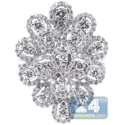 18K White Gold 1.91 ct Diamond Womens Flower Ring