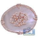 18K Rose Gold 0.83 ct Diamond Pearl Womens Flower Ring