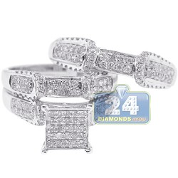 14K White Gold 1.27 ct Diamond Pave Wedding 3-Ring Set