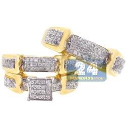 14K Yellow Gold 0.91 ct Diamond Pave Bridal Three Ring Set