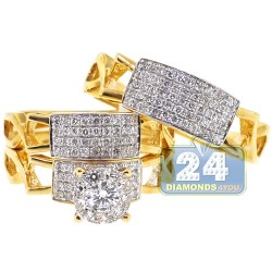 14K Yellow Gold 1.42 ct Diamond Engagement Three Rings Set