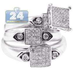 14K White Gold 0.60 ct Diamond Pave Wedding Three Rings Set