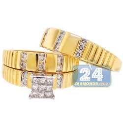14K Yellow Gold 0.80 ct Diamond Wedding Set of His Hers Rings