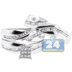 14K White Gold 0.85 ct Diamond Bridal Mens Womens Ring Set