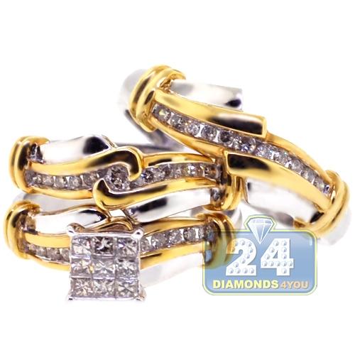 Diamond Wedding 3 Rings Set 14K Two Tone Gold 0.82 ct