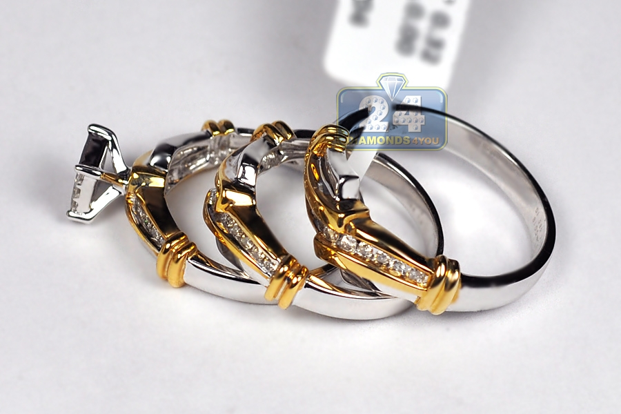 Diamond Wedding 3 Rings Set 14k Two Tone Gold 0 82 Ct