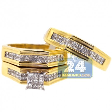 14K Yellow Gold 2.76 ct Diamond Engagement 3-Ring Set