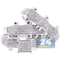 14K White Gold 1.43 ct Diamond Wedding Three Ring Set