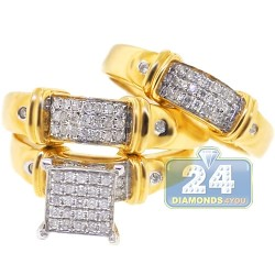 14K Yellow Gold 0.59 ct Diamond Pave Bridal Three Rings Set