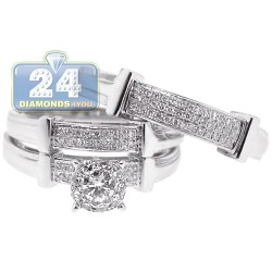 14K White Gold 0.56 ct Diamond Pave Bridal Three Rings Set