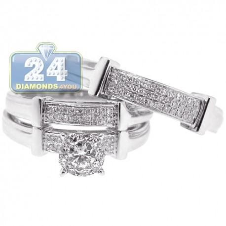 14K White Gold 0.56 ct Diamond Pave Bridal Three Rings Set