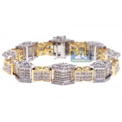 14K Two Tone Gold 13.65 ct Diamond Link Mens Bracelet 8 1/2 Inch