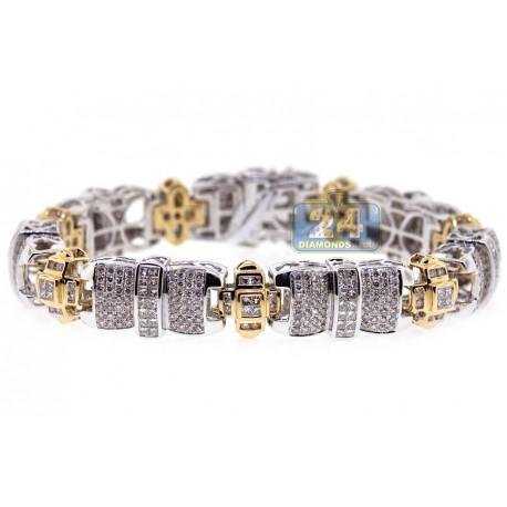 "Mens Diamond Link Bracelet 14K Two Tone Gold 8.74 ct 13mm 8.25"""