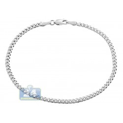 10K White Gold Solid Miami Cuban Link Mens Bracelet 3 mm 8 Inches