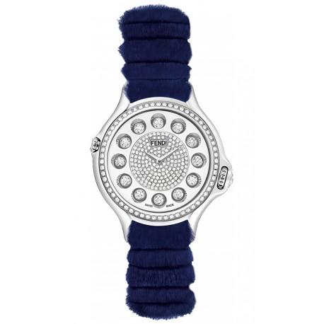 F108034031B4P02 Fendi Crazy Carats Special Blue Fur Diamond Watch