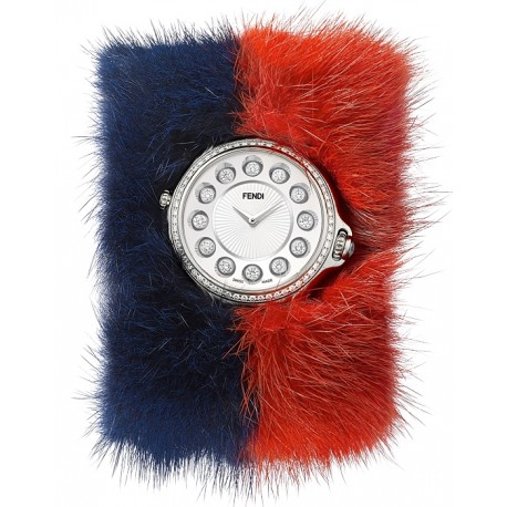 F106034037B0P02 Fendi Crazy Carats Special Blue Red Fur Watch