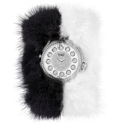F106034014P4P02 Fendi Crazy Carats Special Black White Fur Diamond Watch