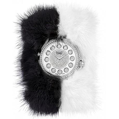 F106034014P4P02 Fendi Crazy Carats Special Black White Fur Diamond Watch