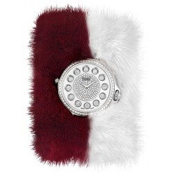 F106034017B4P02 Fendi Crazy Carats Special Burgundy White Fur Diamond Watch