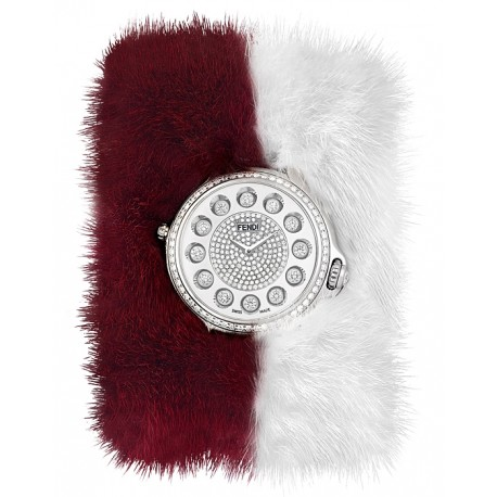 F106034017B4P02 Fendi Crazy Carats Special Burgundy White Fur Diamond Watch