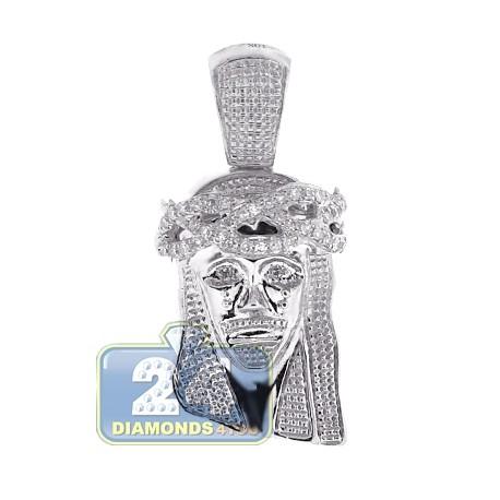 Mens Diamond Jesus Head Religious Pendant 10K White Gold .23ct