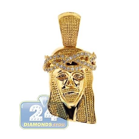 Mens Diamond Jesus Head Religious Pendant 10K Yellow Gold .23ct