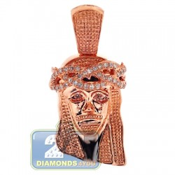 Mens Diamond Jesus Christ Head Pendant 14K Rose Gold 0.23ct