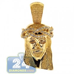 14K Yellow Gold 0.23 ct Diamond Jesus Christ Head Mens Pendant