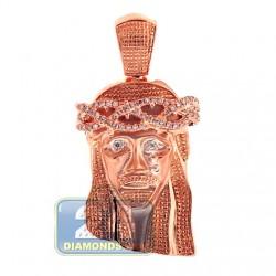 Mens Diamond Jesus Christ Head Pendant Matte 10K Rose Gold