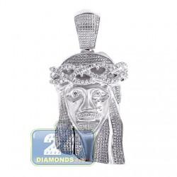 10K White Gold 0.31 ct Diamond Jesus Christ Head Mens Pendant