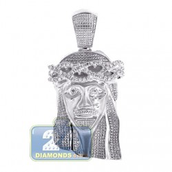 Mens Diamond Jesus Christ Head Pendant Matte 10K White Gold