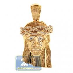 10K Yellow Gold 0.31 ct Diamond Jesus Christ Head Mens Pendant