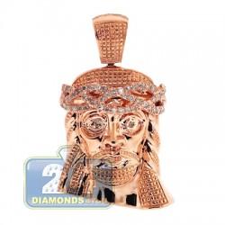 Mens Diamond Jesus Christ Head Pendant 14K Rose Gold 0.27ct