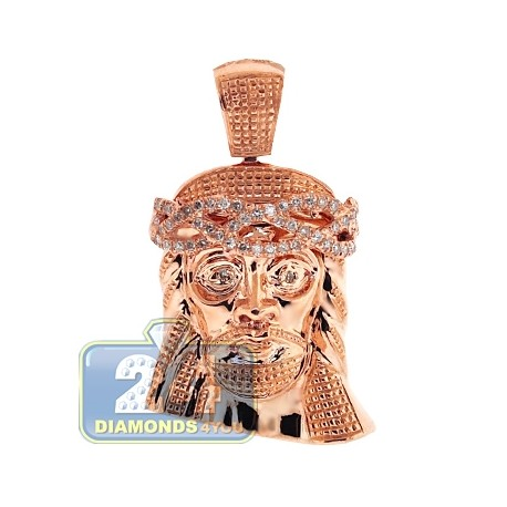 Mens Diamond Jesus Christ Head Pendant 14K Rose Gold 0.27ct