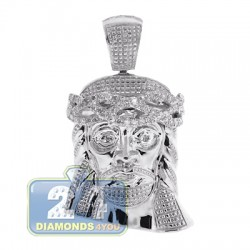 14K White Gold 0.27 ct Diamond Jesus Christ Head Mens Pendant
