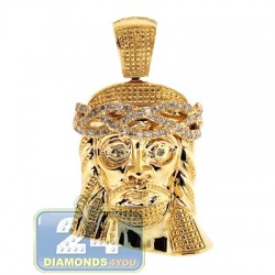 14K Yellow Gold 0.27 ct Diamond Jesus Christ Head Mens Pendant