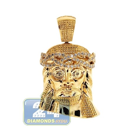 Mens Diamond Jesus Christ Head Pendant 14K Yellow Gold 0.27ct
