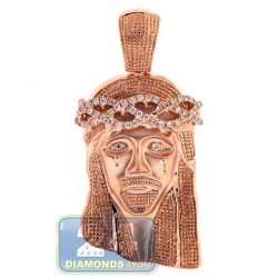 Mens Diamond Jesus Christ Head Pendant 10K Rose Gold 0.60ct