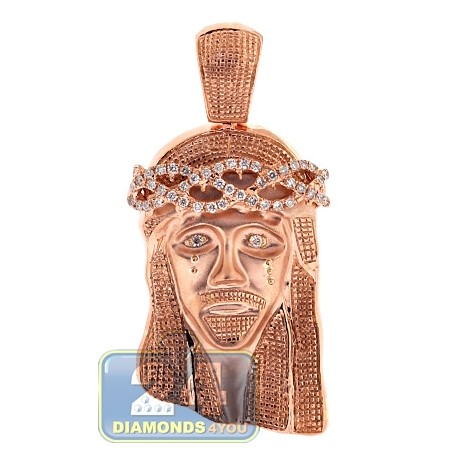Mens Diamond Jesus Christ Head Pendant 10K Rose Gold 0.60ct