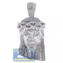 Mens Diamond Jesus Christ Head Pendant 10K White Gold 0.60ct