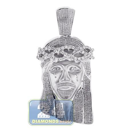 Mens diamond jesus christ head pendant 10k white gold 060ct aloadofball Image collections
