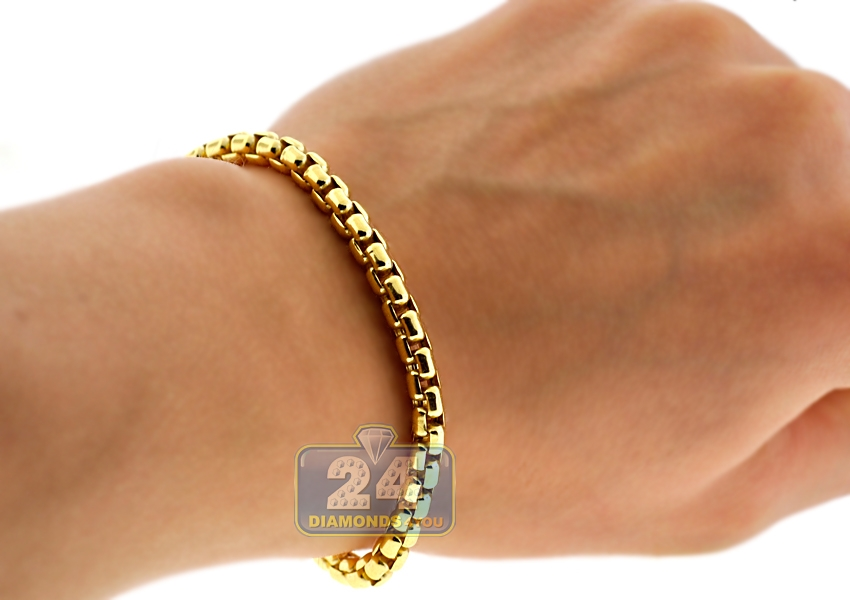 mens yellow link cuban inches hollow mm miami bracelet gold