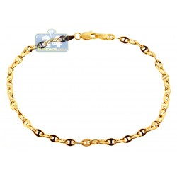 10K Yellow Gold Mariner Link Mens Bracelet 3.5 mm 8 Inches