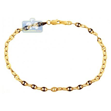 "Italian 10K Yellow Gold Mariner Anchor Link Mens Bracelet 3.5mm 8"""