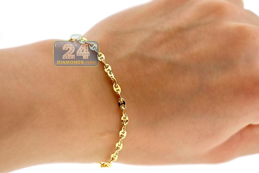 Italian 10k Yellow Gold Mariner Anchor Link Mens Bracelet