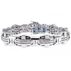 14K White Gold 3.93 ct Diamond Flat Link Mens Bracelet 8.5 Inches