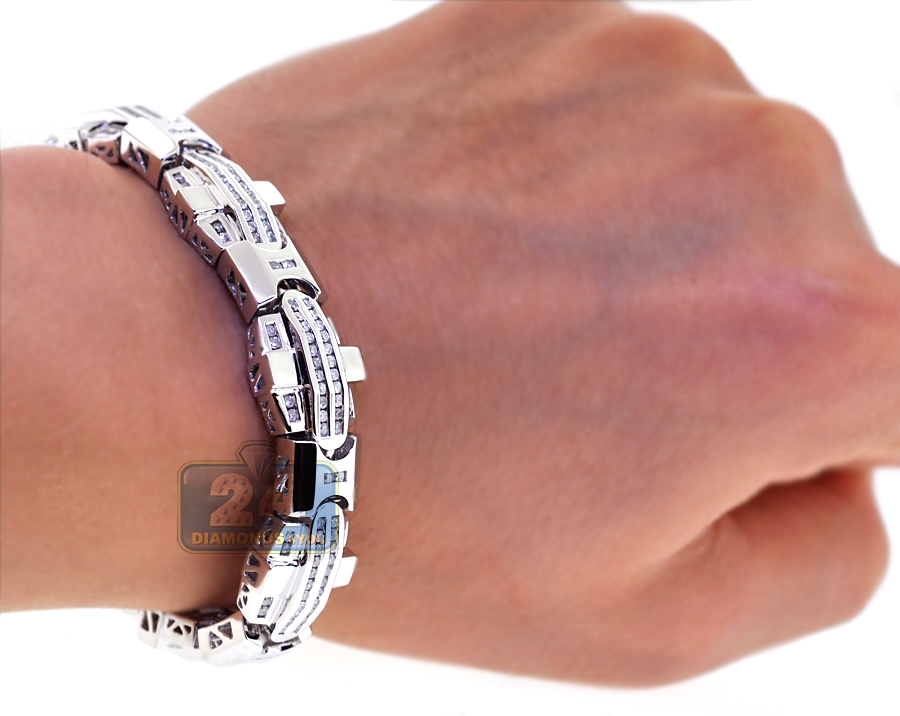 2ddba9b730b Mens Diamond Flat Link Bracelet 14K White Gold 3.93 ct 8.5