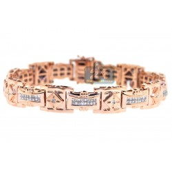 14K Rose Gold 2.38 ct Diamond Link Mens Bracelet 8 1/2 Inches