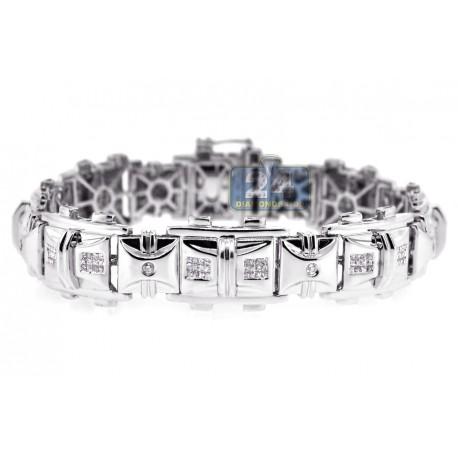 """Mens Diamond Flat Link Bracelet 14K White Gold 2.44 ct 16mm 8.5"""""""
